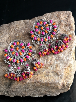 Handcrafted Pink Orange Beads Stones Hanging Jhumki Design Oxidised Silver Plated Brass Chandbalis