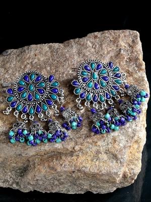 Handcrafted Blue Beads Stones Hanging Jhumki Design Oxidised Silver Plated Brass Chandbalis