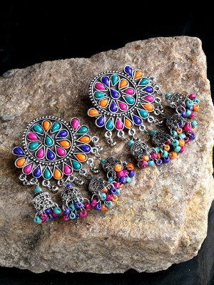 Handcrafted Multi Beads Stones Hanging Jhumki Design Oxidised Silver Plated Brass Chandbalis