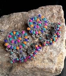 Handcrafted Multi Beads Stones Hanging Jhumki Design Oxidised Silver Plated Brass Chandbalis