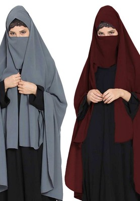 Irani ChadarTwo Pieces Combo-Rida Hijab with Detachable Nose Piece-Made in Nida Matt