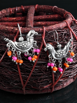 Handcrafted Pink Orange Beads Sparrow Design Oxidised Silver Plated Brass Studs