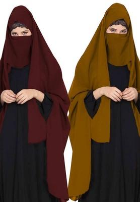 Irani ChadarTwo Pieces Combo-Rida Hijab with Detachable Nose Piece-Made in Nida Matt