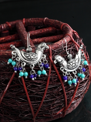 Handcrafted Turquoise Blue Beads Sparrow Design Oxidised Silver Plated Brass Studs