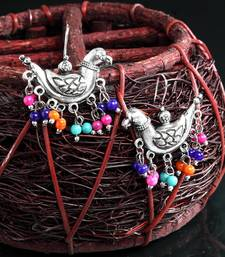 Handcrafted Multi Color Beads Sparrow Design Oxidised Silver Plated Brass Studs