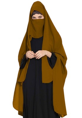 Irani Chadar -Rida Hijab With Detachable Nose Piece-Made In Nida Matt-Golden Brown