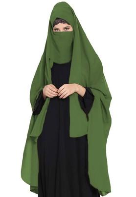 Irani Chadar -Rida Hijab With Detachable Nose Piece-Made In Nida Matt-Jade Green