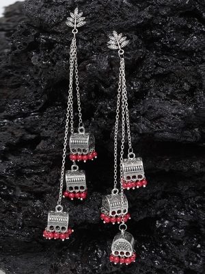 Handcrafted Leaf Design Red Bead Oxidised Silver Plated Brass Afghan Hanging Jhumkas