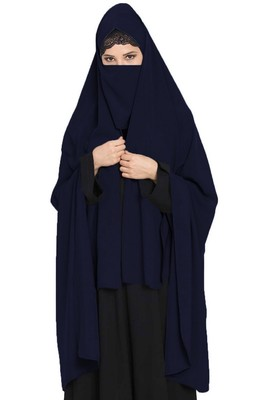 Irani Chadar -Rida Hijab With Detachable Nose Piece-Made In Nida Matt-Navy Blue