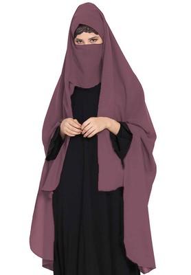 Irani Chadar -Rida Hijab with Detachable Nose Piece-Made in Nida Matt-Puce Pink