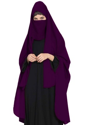 Irani Chadar -Rida Hijab With Petachable Npse Piece-Made In Nida Matt-Purple
