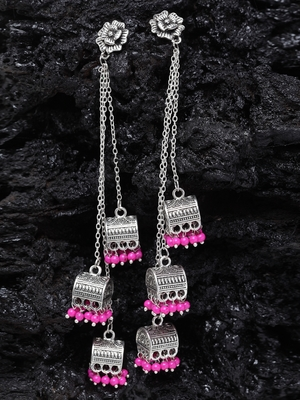 Handcrafted Floral Design Pink Beads Oxidised Silver Plated Brass Afghan Hanging Jhumkas