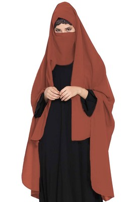 Irani Chadar -Rida Hijab with Detachable Nose Piece-Made in Nida Matt-Rust