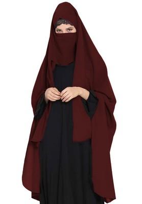 Irani Chadar -Rida Hijab With Detachable Nose Piece-Made In Nida Matt-Wine
