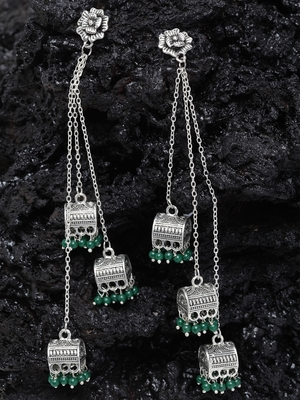 Handcrafted Floral Design Green Bead Oxidised Silver Plated Brass Afghan Hanging Jhumkas