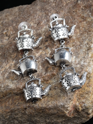 Handcrafted Multi Layer Teapot Design Oxidised Silver Plated Brass Drop Earrings