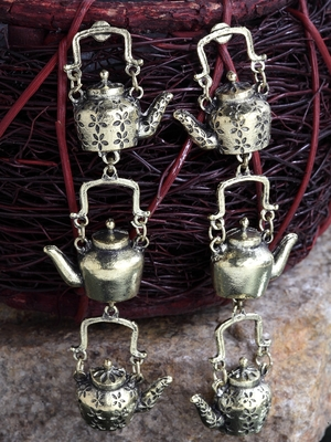 Handcrafted Multi Layer Teapot Design Oxidised Gold Plated Brass Drop Earrings