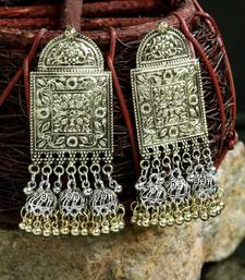 Handcrafted Dual Tone Oxidised Gold Plated Dome Shaped Brass Jhumkas