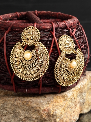 Handcrafted Stone Pearl Studded Oxidised Gold Plated Crescent Shaped Brass Chandbalis
