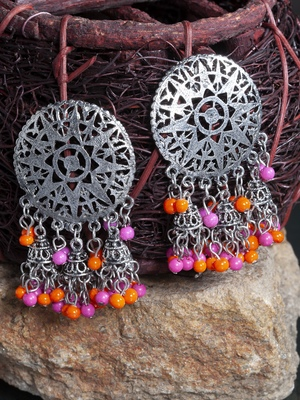 Pink Orange Beads Filigree Afghan Design Oxidised Silver Plated German Silver Jhumkas