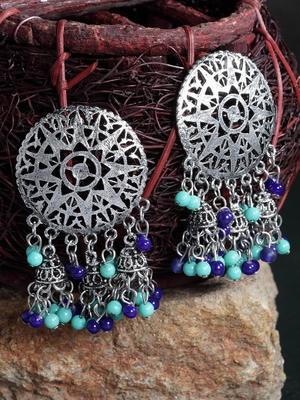 Blue Beads Filigree Afghan Design Oxidised Silver Plated German Silver Jhumkas