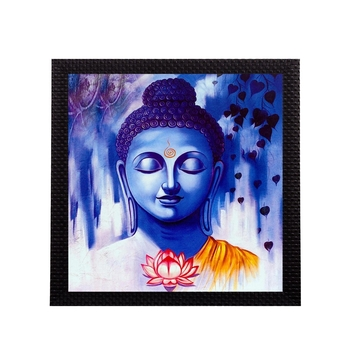 Lord Buddha In Blue Satin Matt Texture UV Art Painting