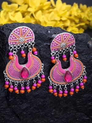 Handpainted Pink Orange Beads Meenakari Design Silver Plated German Silver Chandbalis