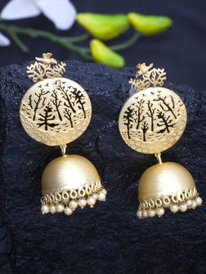 Handcrafted Handmade Filigree Cut Work Design and Pearls Gold Plated Brass Jhumkas
