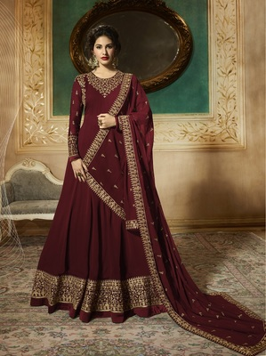 Red Embroidered Georgette Salwar With Dupatta