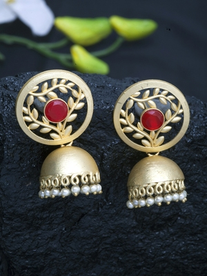 Handcrafted Red Stone Handmade Filigree Design and Pearls Gold Plated Brass Jhumkas