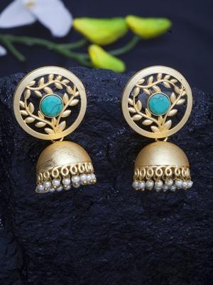 Handcrafted Turquoise Blue Stone Handmade Filigree Design Gold Plated Brass Jhumkas