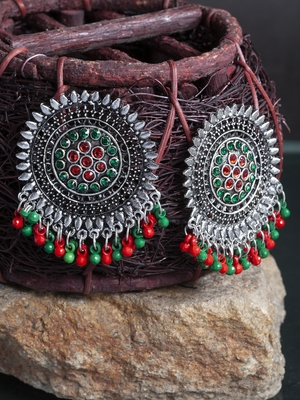 Handcrafted Red Green Stone and Beads Oxidised Silver Plated German Silver Studs
