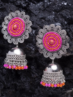Handcrafted Orange Pink Beads Afghan Design Oxidised Silver Plated German Silver Jhumkas