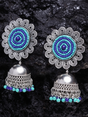 Turquoise Blue Beads Afghan Floral Design Oxidised Silver Plated German Silver Jhumkas
