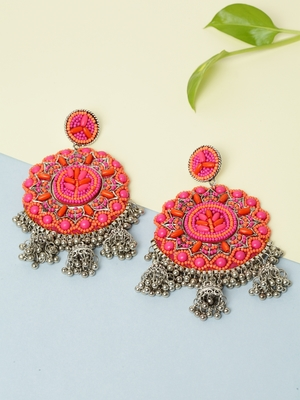 Handwoven Pink Orange Beads Afghan Design Silver Plated Brass Multi Jhumka Earrings