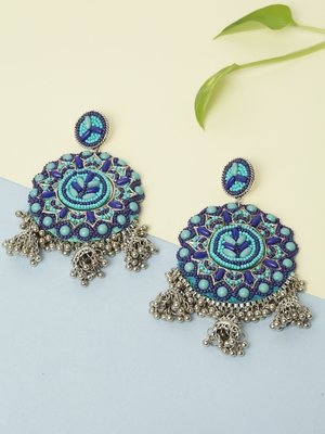 Handwoven Turquoise Blue Beads Afghan Design Silver Plated Brass Multi Jhumka Earrings