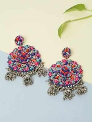 Handwoven Multi Color Beads Afghan Design Silver Plated Brass Multi Jhumka Earrings