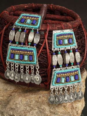 Turquoise Blue Beads Afghan Hanging Design Silver Plated German Silver Drop Earrings