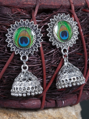 Handcrafted Enamelled Peacock Picture Design Oxidised Silver Plated Brass Jhumkas
