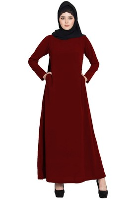 Simple A Line Abaya With Side Pockets