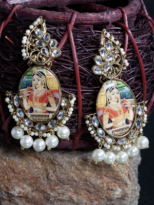 Handcrafted Pearl Encrusted Princess Picture Design Oxidised Gold Plated Metal Jhumkas