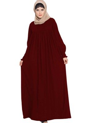 Dress Abaya with a perfect balacnce of Looks and Comfort -Maroon
