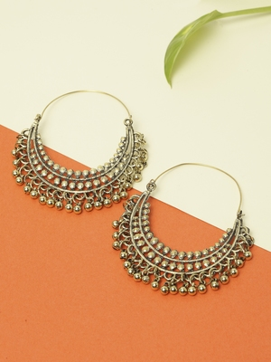 Handcrafted Traditional Temple Design Oxidised Gold Plated German Silver Hoop Earrings