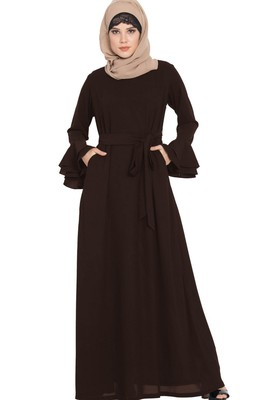 Abaya Dress With Double Layers Of Bell Sleeves And Matching Belt-Brown