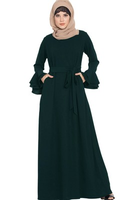 Abaya Dress with Double Layers of Bell Sleeves and Matching Belt-Green