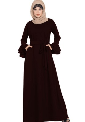 Abaya Dress with Double Layers of Bell Sleeves and Matching Belt-Wine