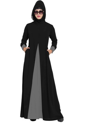 Dual Color Abaya Dress With Pockets