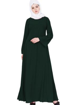 Biased Cut- Umbrella Flare Abaya- Green