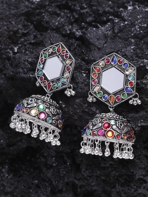 Mirror Encrusted Multi Color Stone and Enamelled Silver Plated German Silver Jhumkas