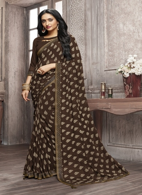 Coffee printed georgette saree with blouse